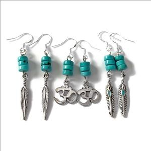 1 SET 925S Turquoise Feather or Om Earrings